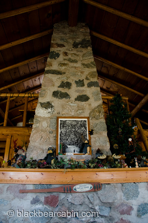 Fieldstone Chimney Reaching to the Loft